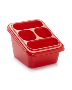 Plastic Forte, Cutlery Drainer With Tray - Red