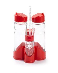 Plastic Forte, Cruet Stand (oil, Vinegar, Salt & Pepper) - Red