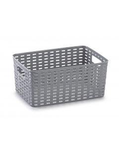 Plastic Forte, Basket Wicker - Silver