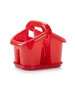 Plastic Forte, Cutlery Drainer With Handle & Tray - Red