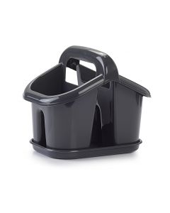 Plastic Forte, Cutlery Drainer With Handle & Tray - Dark Grey